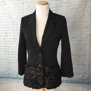 Elizabeth and James Fur Trim Blazer